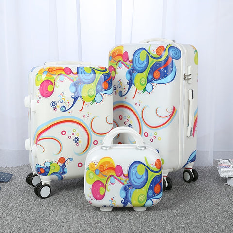Cartoon Luggage Female Universal Wheels Trolley Luggage Travel Bag14 20 24 Password Box Child