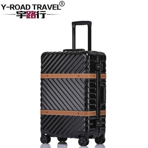 4 Size Vintage Travel Suitcase Rolling Luggage Leather Decoration Koffer Trolley Tsa Lock Suitcases