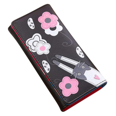 Xiniu Women Wallet Cat Flowers Pattern Hasp Coin Purse Long Wallets Woman Card Holders Handbag