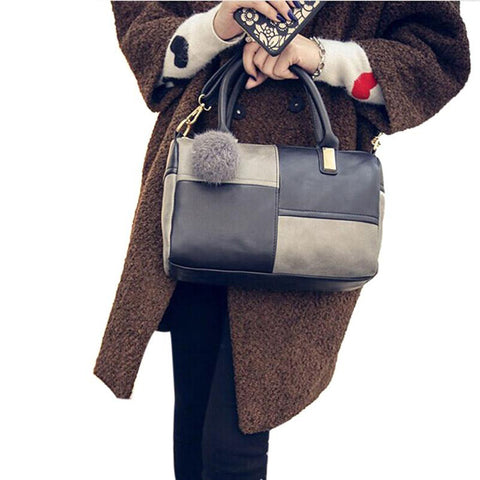 Handbags Trunk Three Strap Fashion Faux Leather Totes Women Messenger Bags Patchwork Zipper