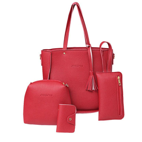 Xiniu 4 Pcs Women Bag Set Leather 2017 Shoulder Bags Women Messenger Bag Small Clutches Handbag