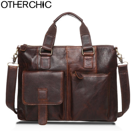"Otherchic14"" Real Leather Document Briefcase Retro Men Business Bags Mens Handbags Genuine Cow"