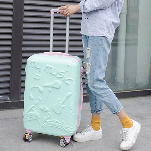 Wholesale!20Inches Fashion Music Printed Hardside Travel Luggage On Universal Wheels For Men And