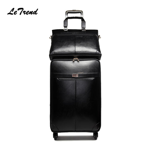 Letrend New Men Business Rolling Luggage Set Suitcases On Wheels Women Trolley Pu Leather Retro