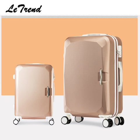 Letrend Fashion Women Suitcases Wheel Trolley Rolling Luggage Spinner Korean Password Travel Bag