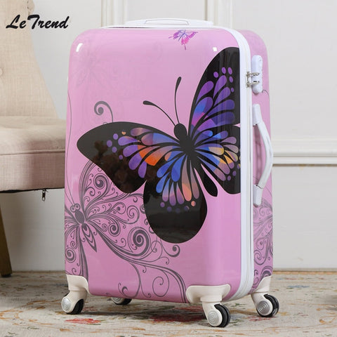 Letrend New Fashion Butterfly Rolling Luggage Spinner Trolley Case Travel Bag 20 Inch Boarding