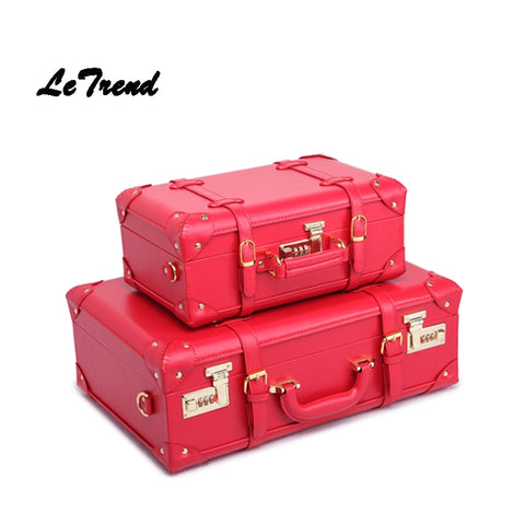 Letrend Red Wedding Suitcase Wheels Women Vintage Leather Trolley Travel Bag Student Password Trunk