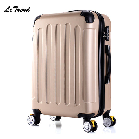 Letrend New Fashion Korean Abs+Pc Rolling Luggage Trolley Men Travel Bag 20 Inch Boarding Box Women
