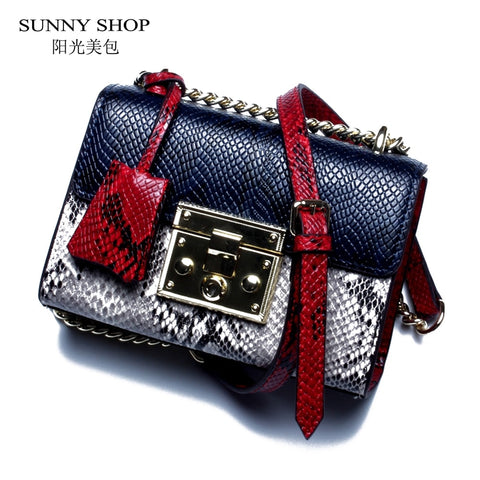 Sunny Shop Genuine Leather Women Bag With Curb Chain Fashion Serpentine Small Gold Color Chain