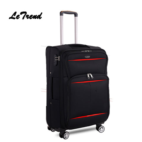 Letrend Business Travel Bag Soft Trolley Men Oxford Rolling Luggage Spinner Wheel Suitcase 20