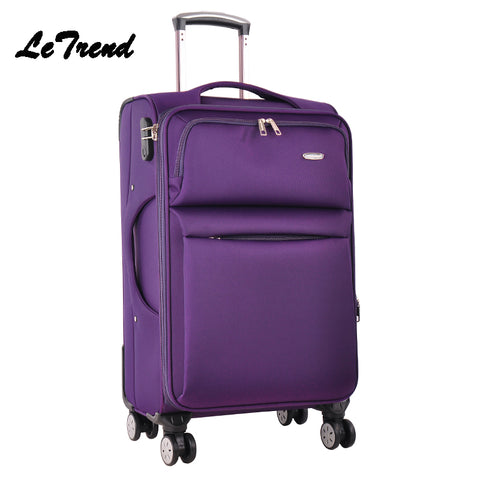 Letrend Men Business Travel Bag Spinner Rolling Luggage Wheel Suitcase 24 Inch Oxford Trolley 20