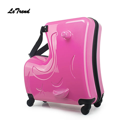 Letrend Children Rolling Luggage Spinner 20 Inch Wheels Suitcase Kids Cabin Trolley Student