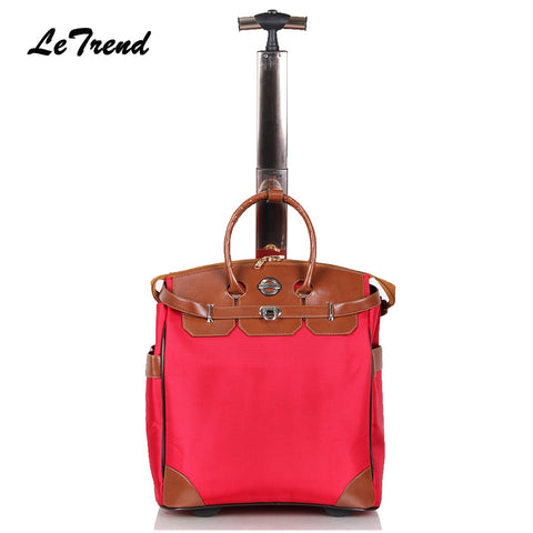 Letrend New Fashion Korean Oxford Men Travel Bag On Wheel Suitcases Women Red Vintage Cabin Rolling
