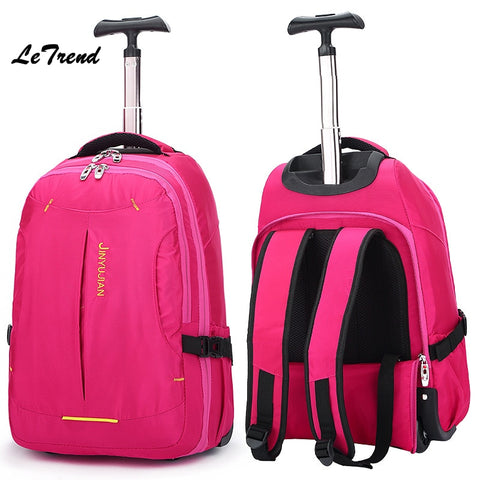 Letrend New Fashion Oxford Travel Bag Women Backpack Rolling Luggage Trolley Bag 18' Boarding Box