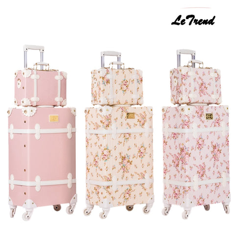 Letrend Retro Suitcase Wheels Men Rolling Luggage Spinner Pink Trolley Student Travel Bag Women