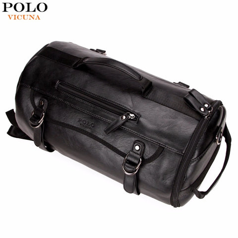 Vicuna Polo Personality Large Size Round Leather Mens Travel Bag Fashion Rolling Travel Backpack