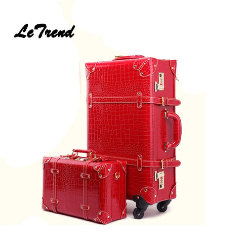 Letrend Retro Crocodile Suitcase Wheels Rolling Luggage Set Password Trolley Spinner Travel Bag