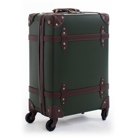 Letrend Vintage Suitcase Wheels Leather Rolling Luggage Spinner Women Retro Trolley 20 Inch Cabin