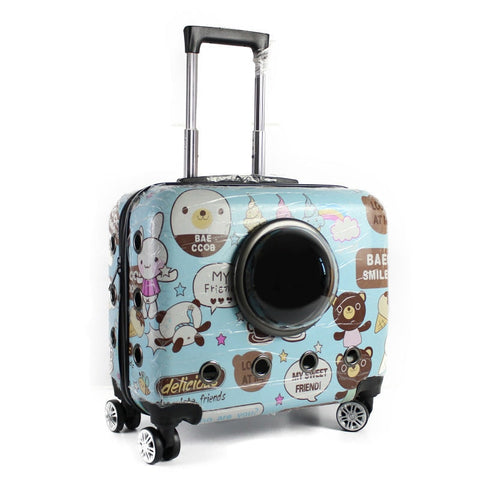 Fashion Small Animal Pet Luggage On Wheels Dog Cat Carrier Travel Tote Trolley Bags  For Dogs