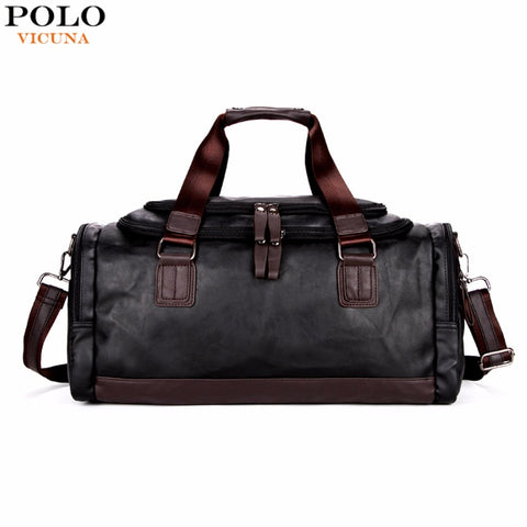 Vicuna Polo Large Capacity Men Travel Bags Simple Contrast Black Duffel Bag For Trip Casual Brand
