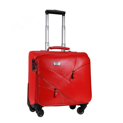 Vintage Red Married Pu Leather Travel Luggage,Female Trolley Luggage Bag On Universal