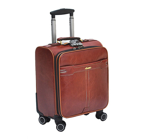 Universal Wheels Trolley Luggage 16 Suitcase Travel Bag Male Women Luggage,High Quality Pu