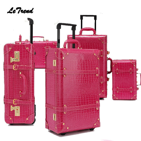 Letrend Vintage Suitcase Wheels Rolling Luggage Set Retro Leather Cabin Trolley Spinner Carry On