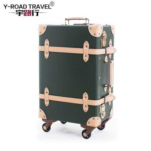 Vintage Suitcase Rolling Luggage Spinner Women Carry On Travel Bag Retro Cabin Trolley Travel