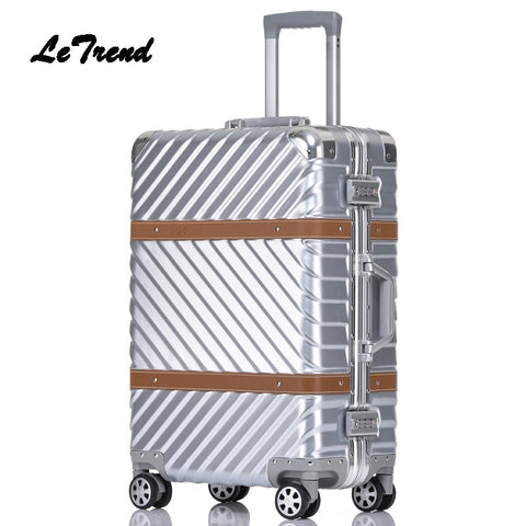 Letrend Spinner Rolling Luggage 24 Inch Travel Duffle Women Trolley Solid Carry On Suitcases