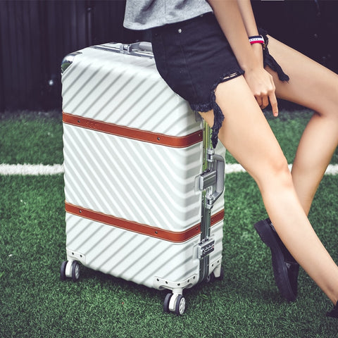 Vintage Aluminum Frame Universal Wheels Trolley Luggage Male Women'S20 24 26 29 Travel Leather