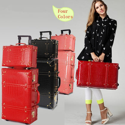 Vintage Travel Bag Universal Wheel Trolley Luggage Vintage Female Red Leather Case The Wedding