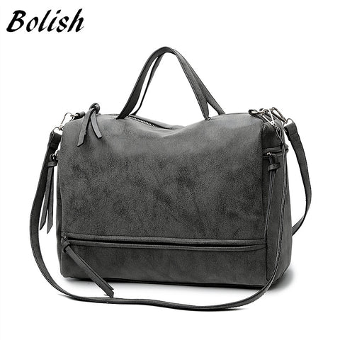 Bolish Brand Fashion Female Shoulder Bag Nubuck Leather Women Handbag Vintage Messenger Bag