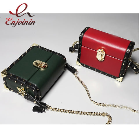New Style Genuine Leather Fashion Rivets Box Shape Buckle Ladies Chain Purse Shoulder Bag Women'S