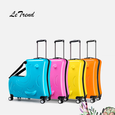 Letrend Children Rolling Luggage Spinner 24 Inch High Capacity Student  Wheels Suitcase Cute