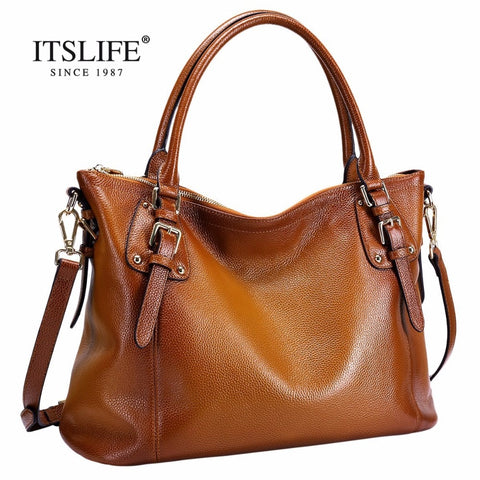 The New Europe Style Women'S Big Retro Bag Lady  Fashion Genuine Leather Handbag  Shoulder