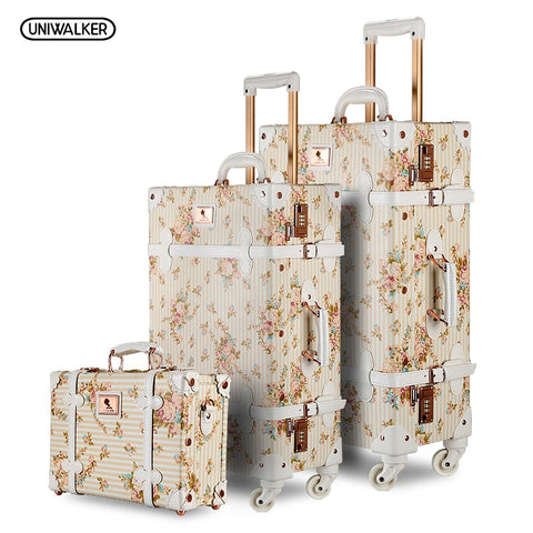 "3Pc/Set Lightweight Vintage Print 3 Piece Luggage Set 20"" 26"" & 13'' Cosmetic Case Womentravel Bags"