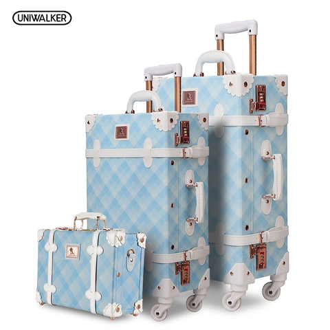 3Pcs/Set Spinner Luggage Set Vintage Print Suitcase Pu Leather Water-Resistant Upright Travel