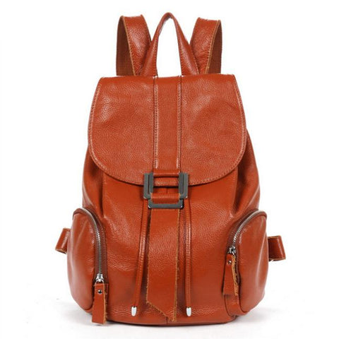 [3 Colors] New Fashion Genuine Leather Women Backpacks Travel Bag Students Books Bag Satchels