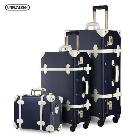 "3Pcs/Set Vintage Pu Travel Luggage,12""Make-Up Bag & 20"" 26"" Retro Trolley Suitcase Bags With"