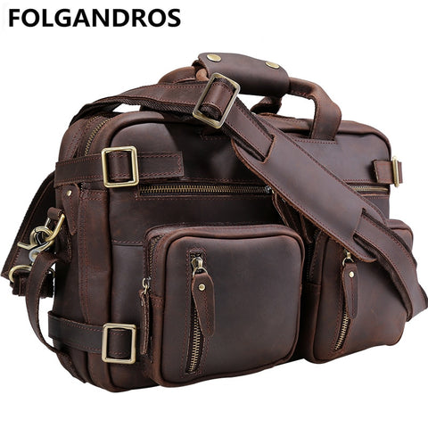 Folgandros Men'S Genuine Leather Briefcase Business Laptop Bag Carry On Tote Handbag Cowhide