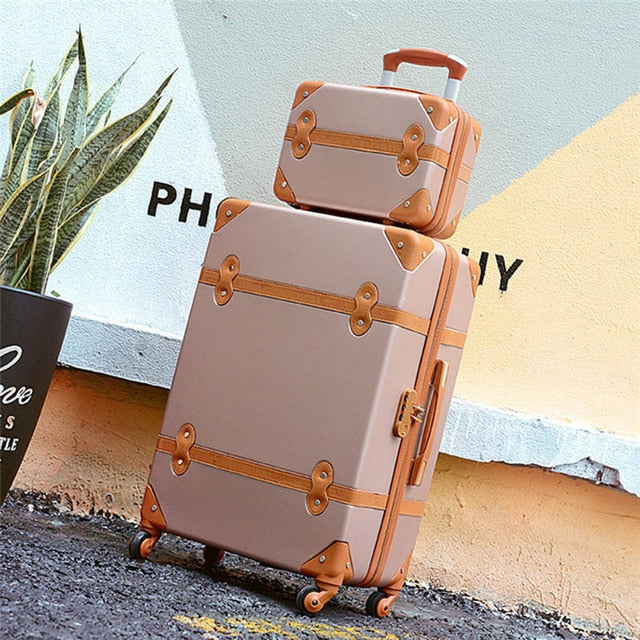 Letrend Women Suitcases Wheel Trolley Rolling Luggage Set Spinner Vintage Travel Bag Student