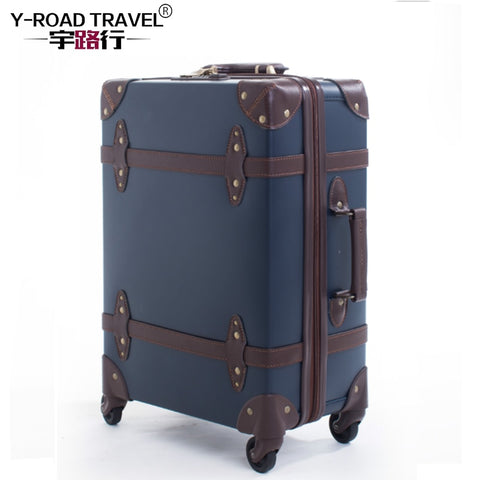 Large Caracity Pu Leather Hardside Luggage Vintage Trolly Suitcase Travel Suitcase,Scratch