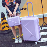 14 24Inches Light Abs Hardside Travel Luggage Set For Male And Female,Pink/Purple/Red