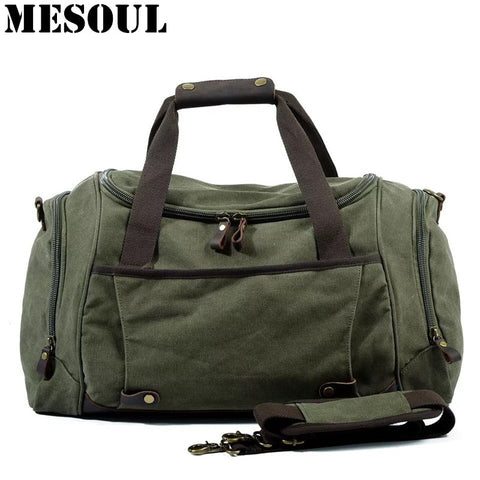 Men Duffle Bag Canvas Carry On Weekend Bag Male Tote Overnight Multifunction Military Large