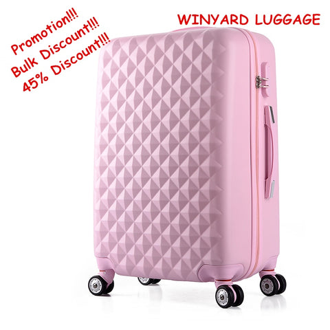 Wholesale!20Inches Abs+Pc Hardside Travel Luggage Bags On Universal Wheels,Female Pink Green Blue