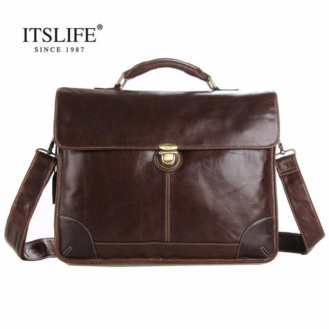 Free Shipping Hot Sale 100% Genuine Leather Men'S Portfolio Business Bag Briefcase Laptop Bag