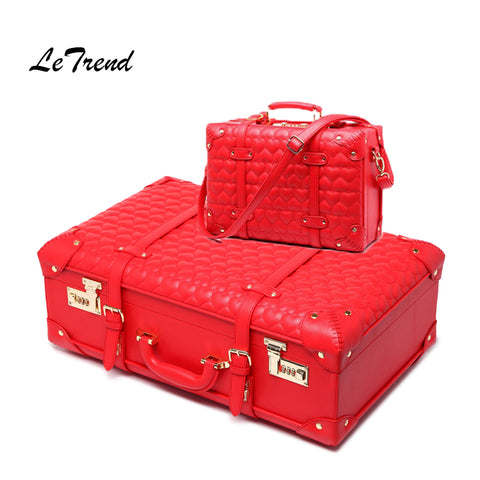 Letrend Leather Luggage Suitcase Wheels Women'S Handbag Vintage Trolley Retro Cabin Travel Bag