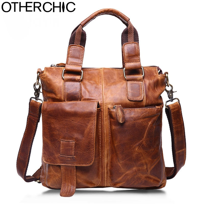 Otherchic Retro Genuine Leather Bags Men Vintage Men'S Messenger Bags Business Shoulder Bag Men