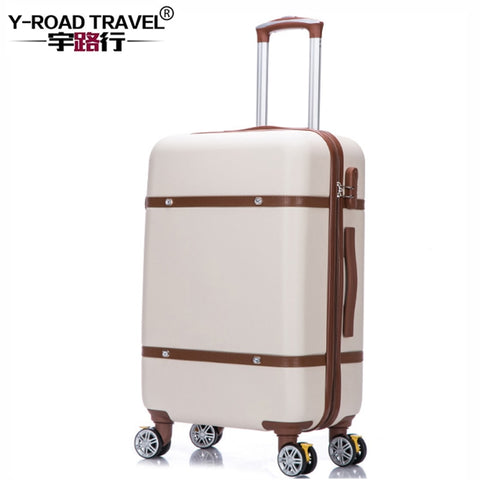 20'24'26' Retro Zipper Spinner Casters With Lock Luggage, Pc Shell Rolling Luggage Bag Trolley Case
