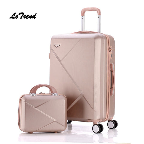 Letrend Women Suitcases Wheel Trolley Rolling Luggage Set Spinner Vintage Password Travel Bag